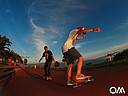 skateboard and longboard at the wide beach promenade of Jandia