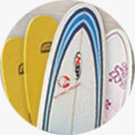soft boards for beginner, NSP and Surftech boards for intermediate and advanced